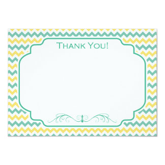 Cute Yellow and Teal Chevron Pattern Card
