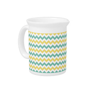 Cute Yellow and Teal Chevron Pattern Drink Pitcher