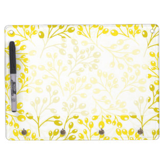 Cute yellow and white autumn berries dry erase board with keychain holder
