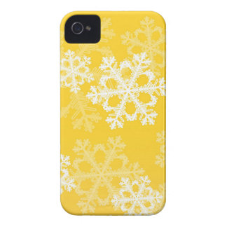 Cute yellow and white Christmas snowflakes iPhone 4 Case-Mate Case