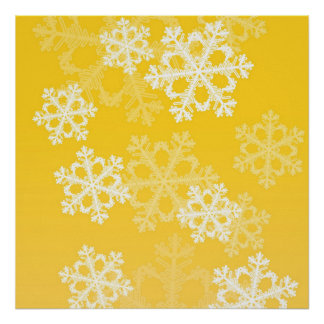 Cute yellow and white Christmas snowflakes Posters