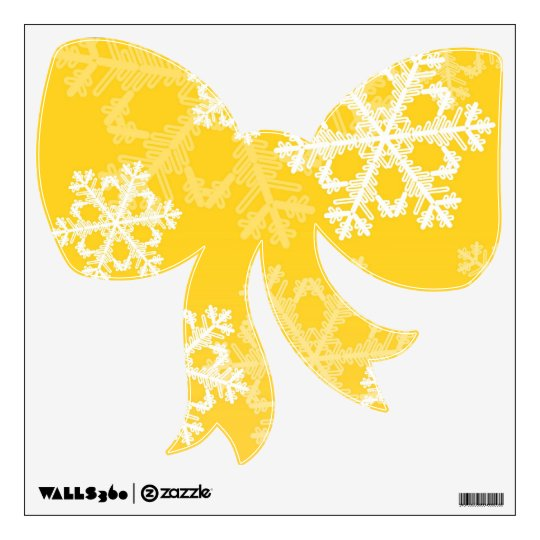 Cute yellow and white Christmas snowflakes Wall Sticker