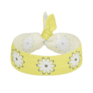 Cute Yellow and White Daisy Pattern Hair Tie