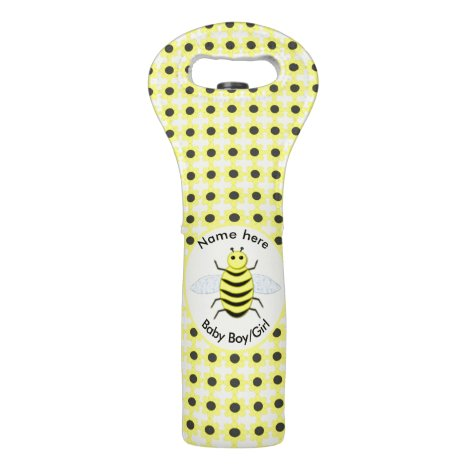 Cute Yellow Baby Bee Gender Reveal Neutral Custom Wine Bag