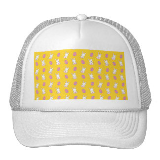 Cute yellow baby bunny easter pattern hat