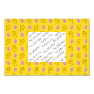 Cute yellow baby chick easter pattern photo print