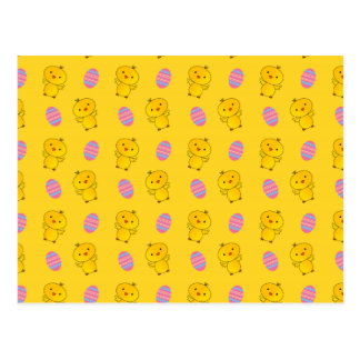 Cute yellow baby chick easter pattern postcard