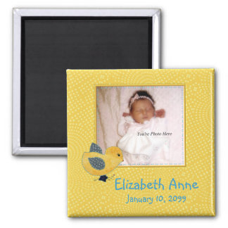 Cute Yellow Baby Chick Photo Birth Announcement Magnets