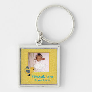 Cute Yellow Baby Chick Photo Birth Announcement Silver-Colored Square Keychain