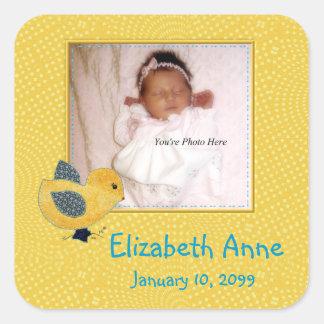 Cute Yellow Baby Chick Photo Birth Announcement Square Sticker