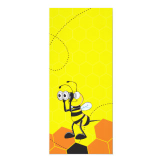 Cute Yellow Bee Binoculars Party Card