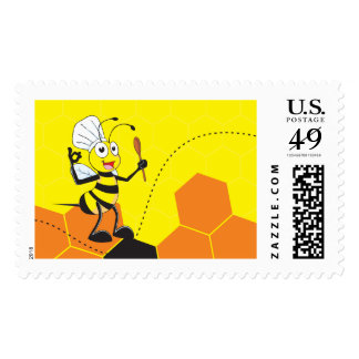 Cute Yellow Bee Chef Hat Spatula Stamp