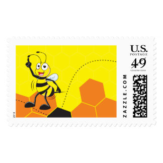 Cute Yellow Bee Finger Pointing Up Reminder Postage Stamp