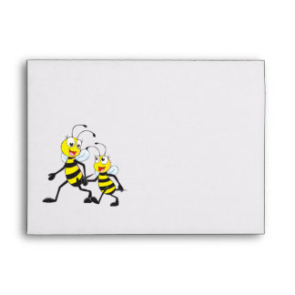Cute Yellow Bee Happy Daddy Walking Hold Son Hand Envelopes
