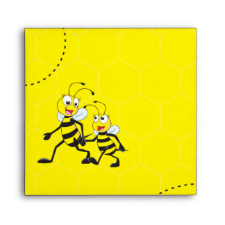 Cute Yellow Bee Happy Daddy Walking Hold Son Hand Envelope
