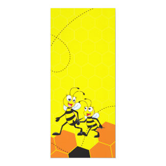"""Cute Yellow Bee Happy Daddy Walking Hold Son Hand 4"""" X 9.25"""" Invitation Card"""
