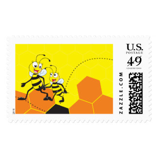 Cute Yellow Bee Happy Daddy Walking Hold Son Hand Postage