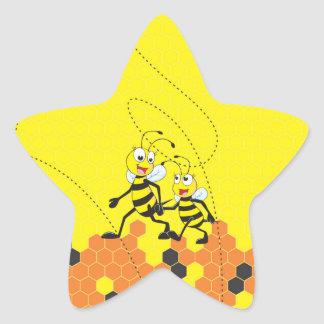 Cute Yellow Bee Happy Daddy Walking Hold Son Hand Star Sticker
