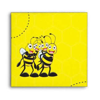 Cute Yellow Bee Happy Family Dad Mom Son Daughter Envelopes