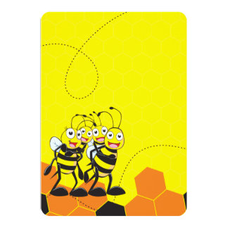 Cute Yellow Bee Happy Family Dad Mom Son Daughter Card