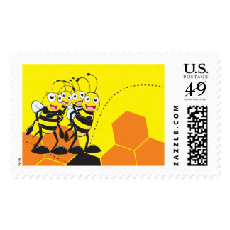 Cute Yellow Bee Happy Family Dad Mom Son Daughter Stamp