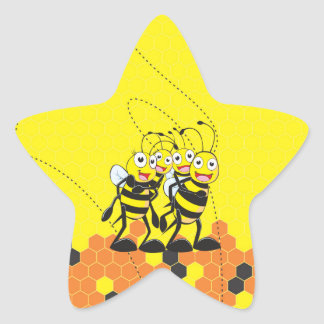 Cute Yellow Bee Happy Family Dad Mom Son Daughter Star Sticker