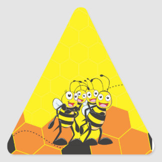 Cute Yellow Bee Happy Family Dad Mom Son Daughter Triangle Stickers
