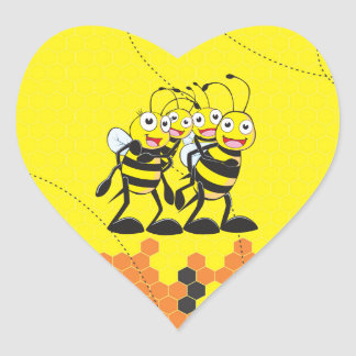 Cute Yellow Bee Happy Family Dad Mom Son Daughter Heart Sticker