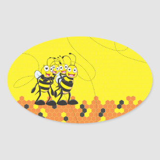 Cute Yellow Bee Happy Family Dad Mom Son Daughter Oval Sticker