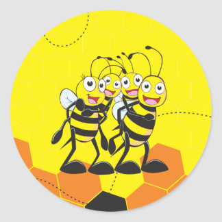 Cute Yellow Bee Happy Family Dad Mom Son Daughter Round Sticker