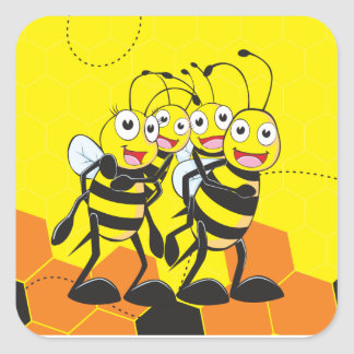 Cute Yellow Bee Happy Family Dad Mom Son Daughter Square Stickers