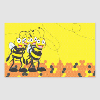 Cute Yellow Bee Happy Family Dad Mom Son Daughter Rectangular Sticker