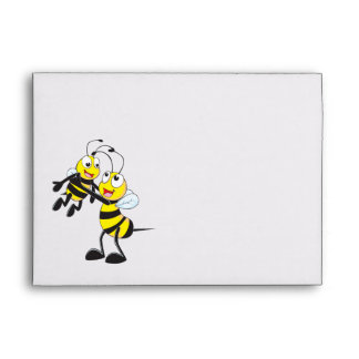 Cute Yellow Bee Happy Playing Daddy Son Envelopes