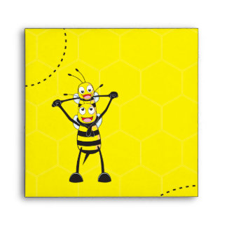 Cute Yellow Bee Happy Playing Daddy Son Envelope