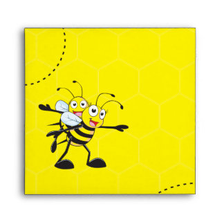 Cute Yellow Bee Happy Playing Daddy Son Party Envelope