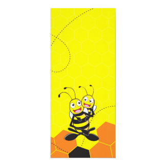 """Cute Yellow Bee Happy Playing Daddy Son Party 4"""" X 9.25"""" Invitation Card"""