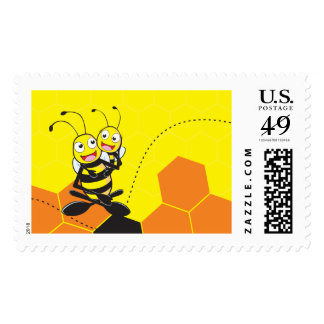 Cute Yellow Bee Happy Playing Daddy Son Party Postage Stamps