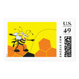 Cute Yellow Bee Happy Playing Daddy Son Party Stamp