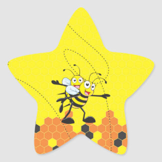 Cute Yellow Bee Happy Playing Daddy Son Party Star Sticker