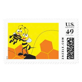 Cute Yellow Bee Happy Playing Daddy Son Postage