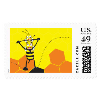 Cute Yellow Bee Happy Playing Daddy Son Stamps