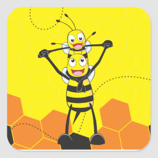 Cute Yellow Bee Happy Playing Daddy Son Square Sticker