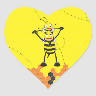 Cute Yellow Bee Happy Playing Daddy Son Heart Stickers