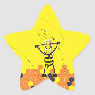 Cute Yellow Bee Happy Playing Daddy Son Star Sticker