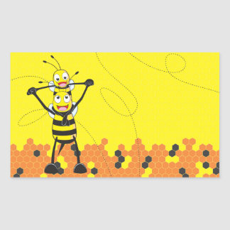 Cute Yellow Bee Happy Playing Daddy Son Rectangle Stickers