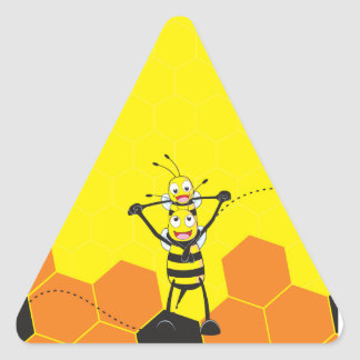 Cute Yellow Bee Happy Playing Daddy Son Triangle Sticker
