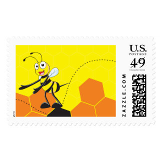 Cute Yellow Bee Happy Showing Presenting Hands Stamp