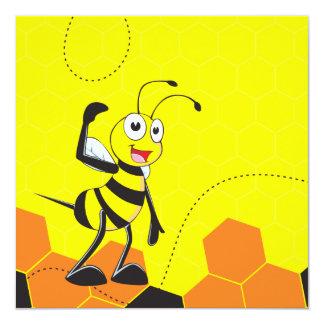 Cute Yellow Bee Happy Thinking Hand on Chin Card