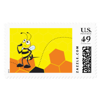 Cute Yellow Bee Happy Thinking Hand on Chin Postage Stamps