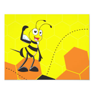 Cute Yellow Bee Holding a Mobile Phone Talking 4.25x5.5 Paper Invitation Card
